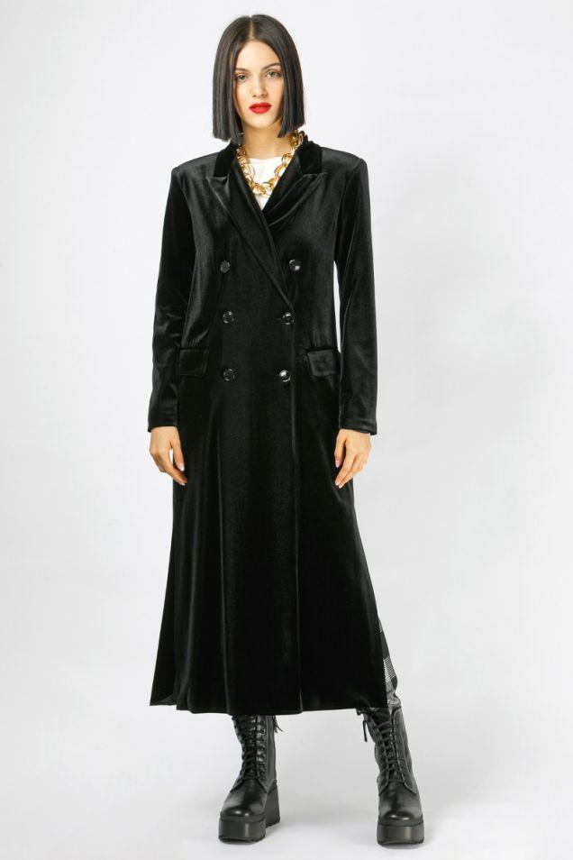 Double -breasted maxi velvet coat
