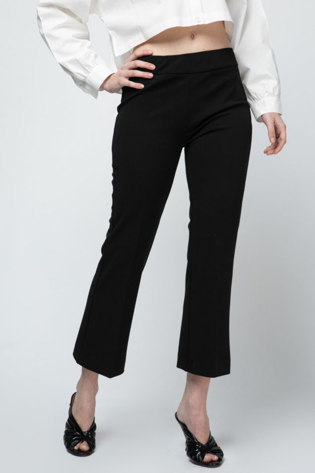 Black cropped flared pants