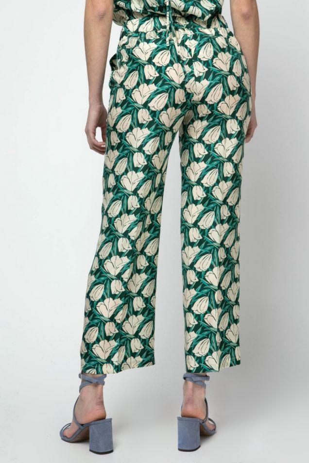 Floral- print silk pants