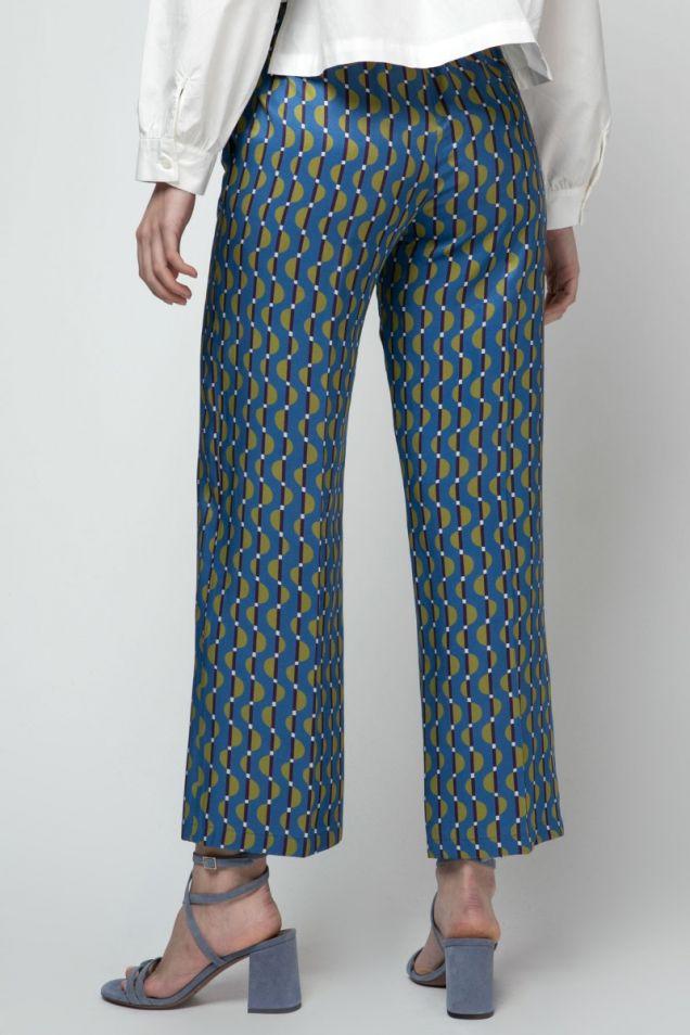 Print silk pants