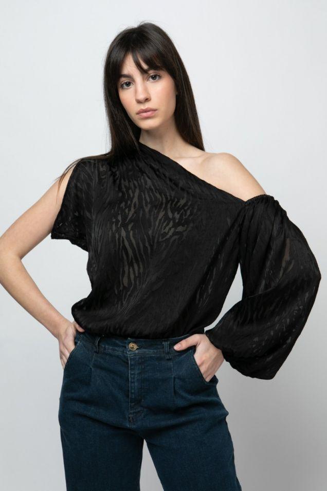 One shoulder black blouse