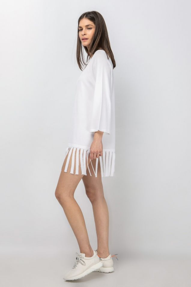 Knit blouse with fringes
