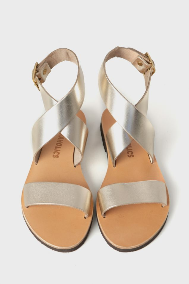Metallic leather flat sandals