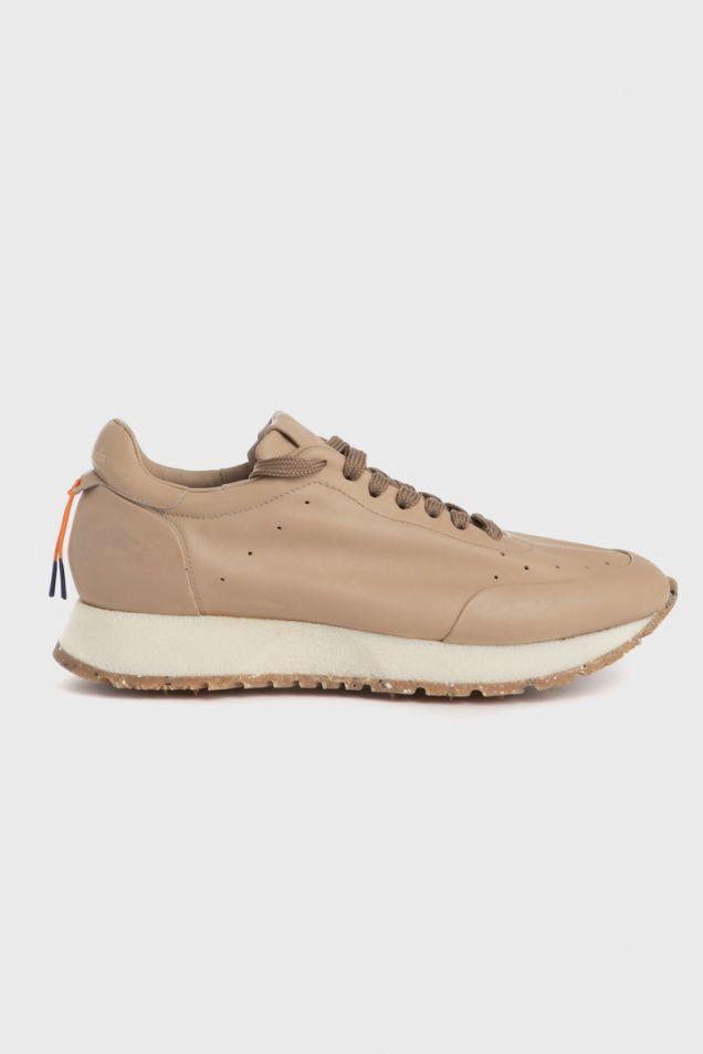 Beige leather sneakers