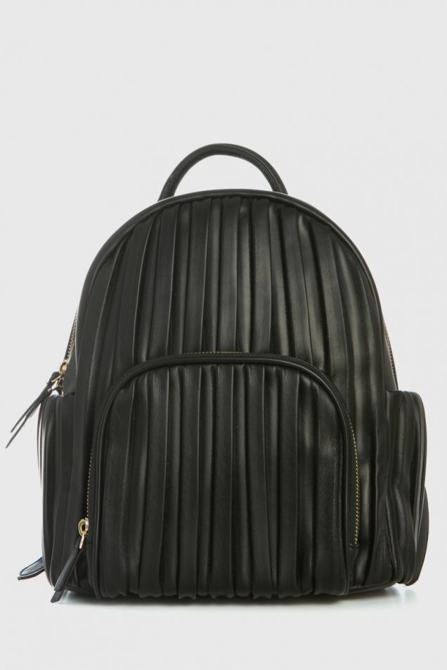 Black pleated backpack