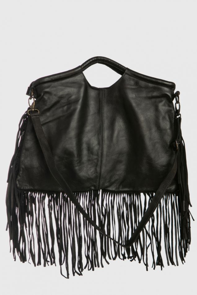 Fringed leather black bag