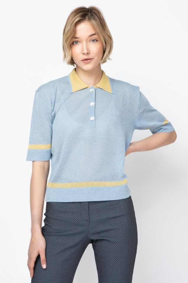 Polo shirt in two-tone jersey