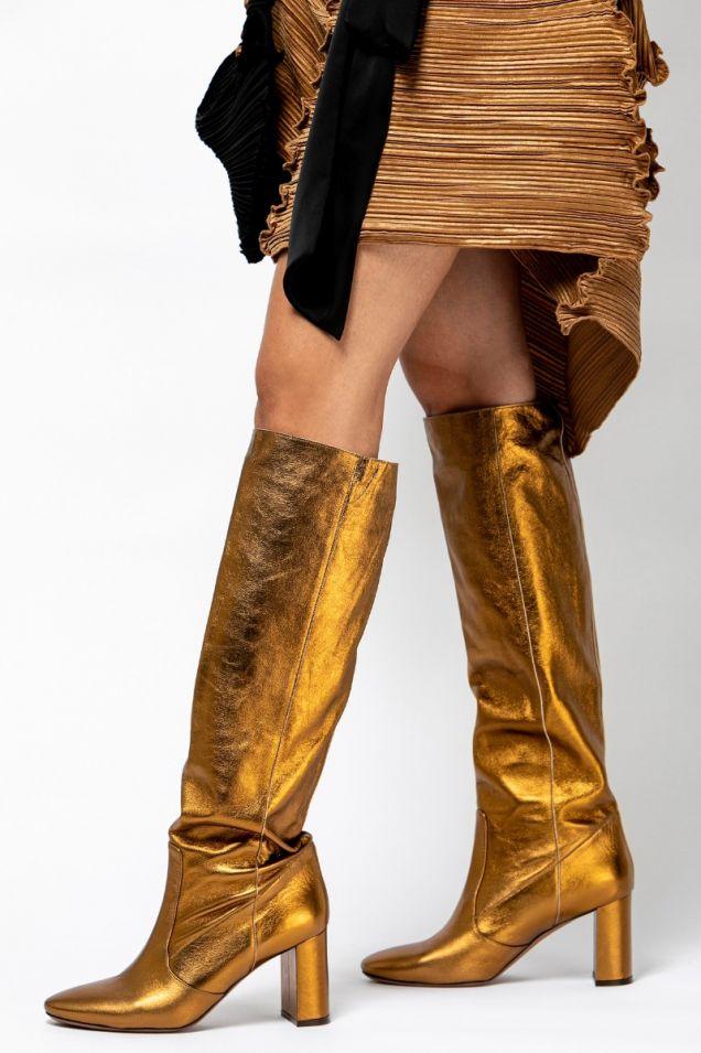 Metallic- bronze knee boots