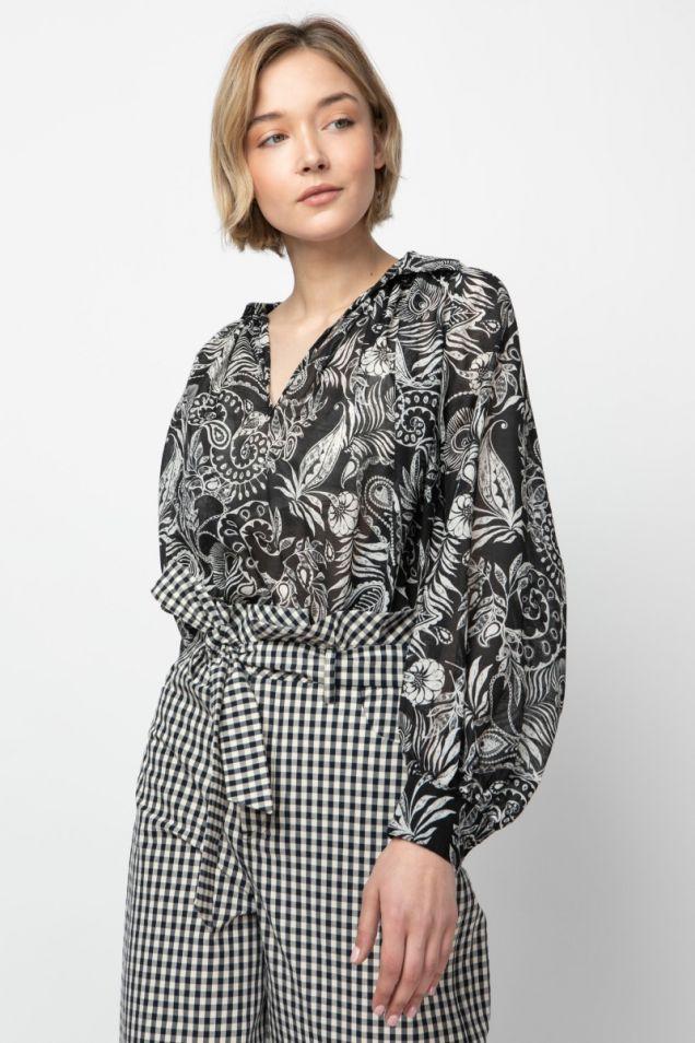 Printed black-ivory blouse