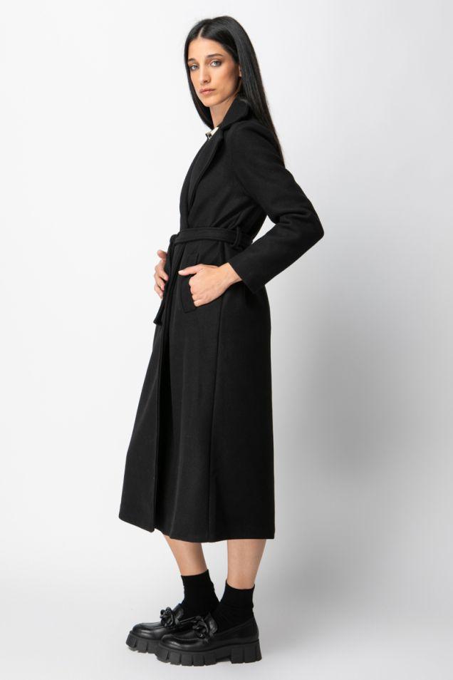 Belted black midi coat