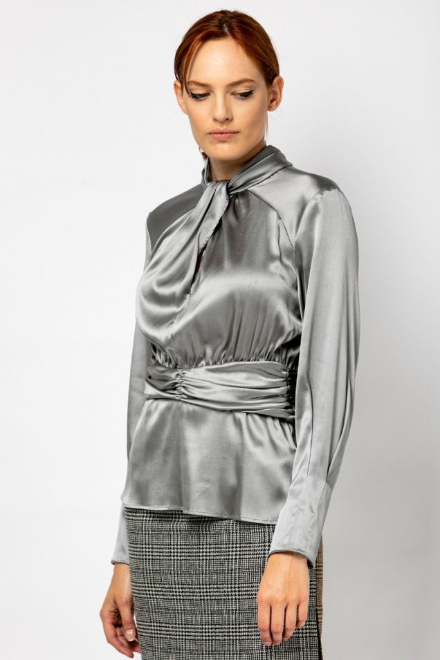 Silk satin  blouse in silver grey