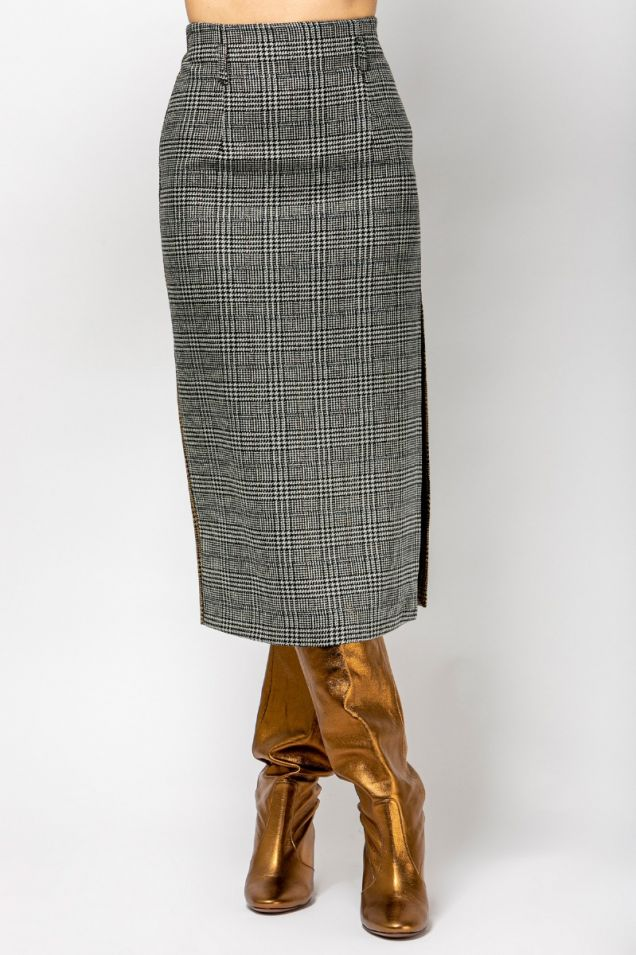 Midi checked skirt