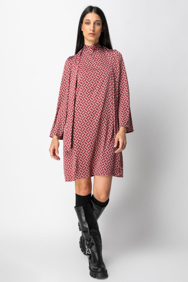 Tie -detailed mini printed dress