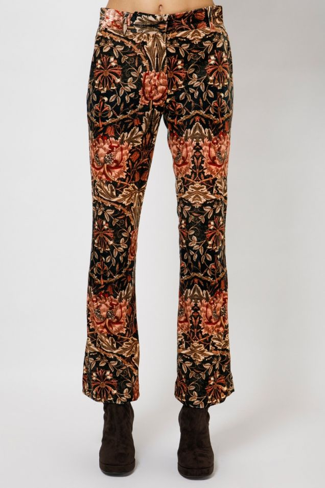 Velvet printed trousers