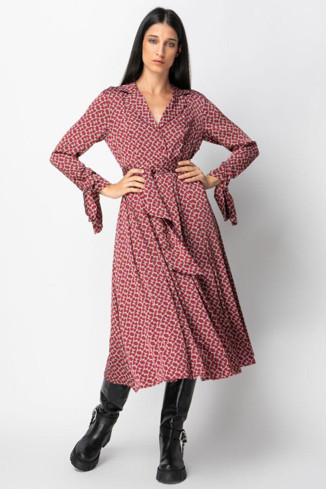 Belted midi printed dress
