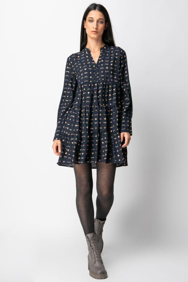 Mini printed ruffled dress