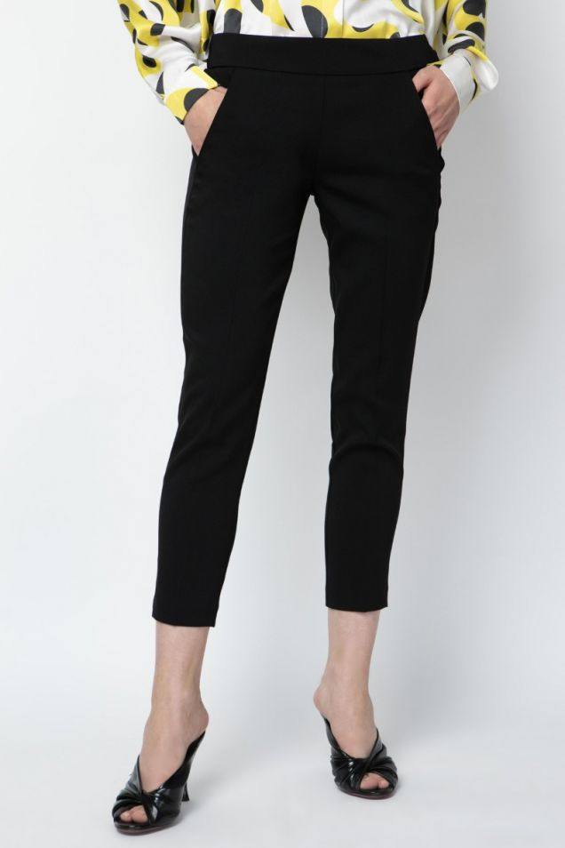 Pants in stretchy viscose crepe