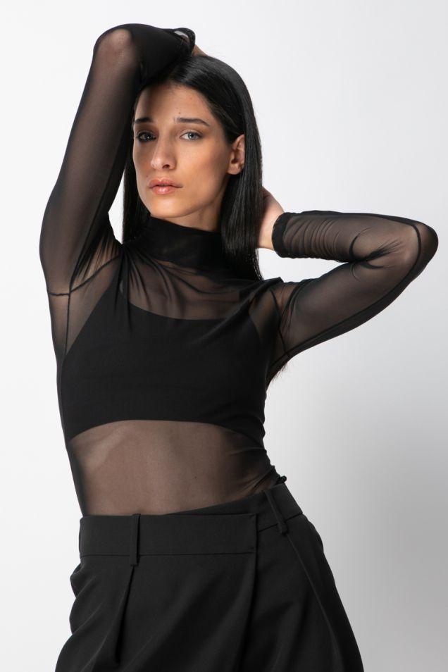 Mesh bodysuit in black