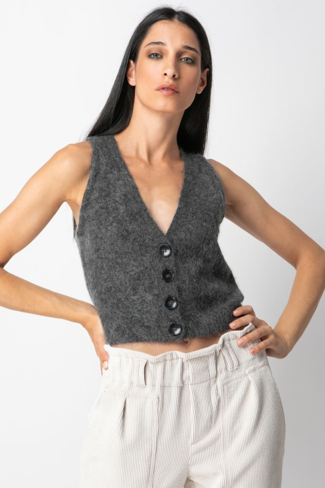 Soft mohair knitted vest