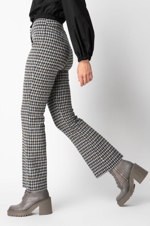 Straight -leg pants in pied de poule