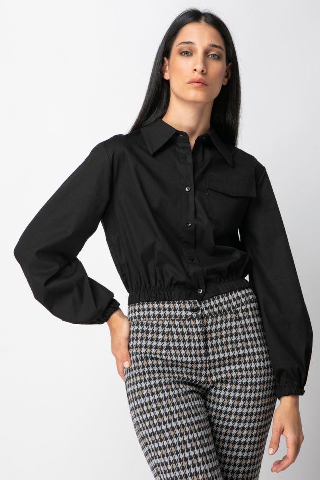 Black -poplin cropped shirt