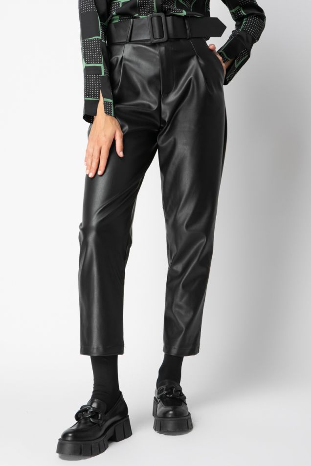Belted high-rise pleated pants