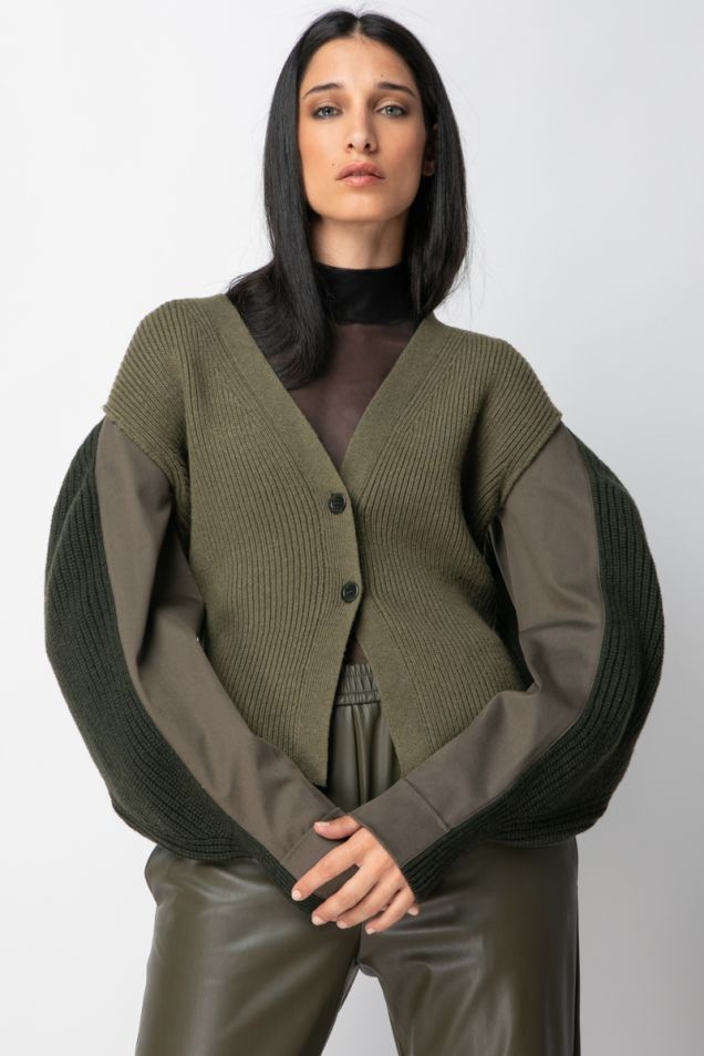 Military knitted cardigan with puffed sleeves