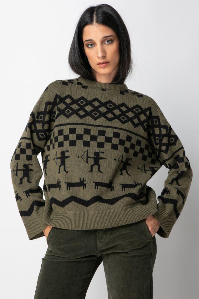 Crew- neck jacquard -knit sweater