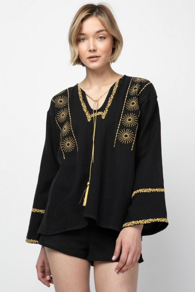 Blouse  in black with gold embroidery