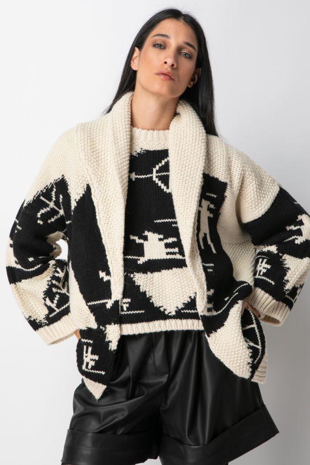 Knit jacquard cardigan