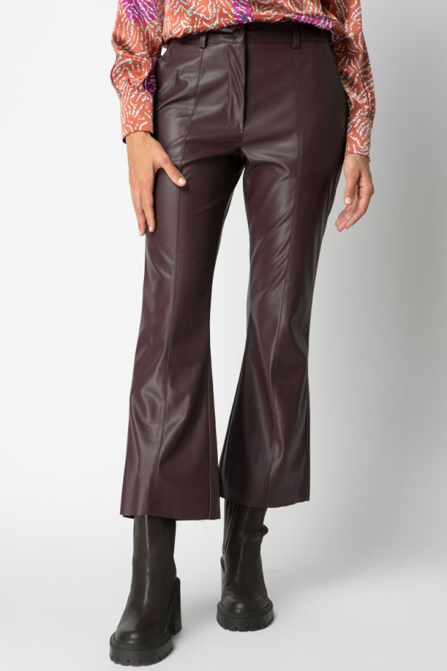 Vegan leather cropped flared pants