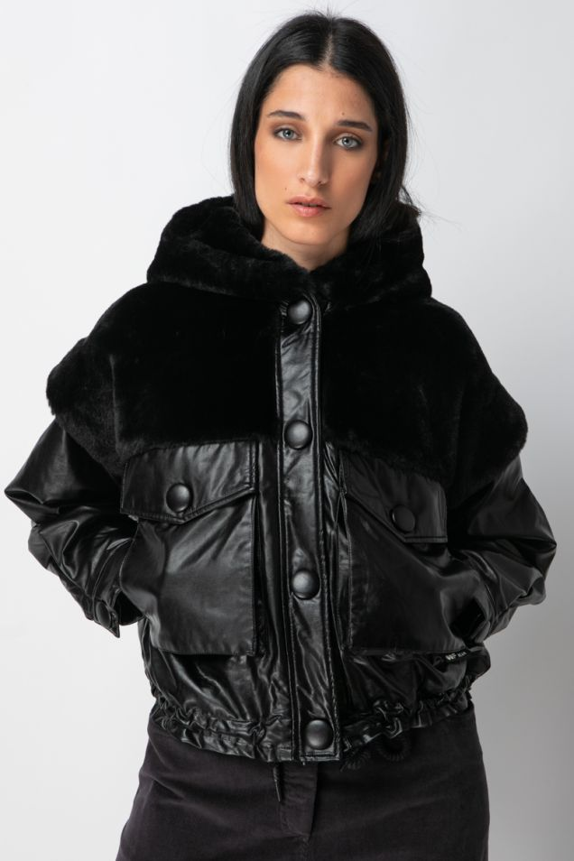 Faux fur and faux leather short jacket