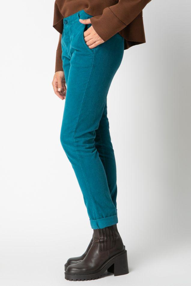 Cropped straight-leg corduroy pants