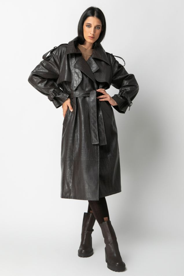 Vegan leather trench-coat with crocodile print