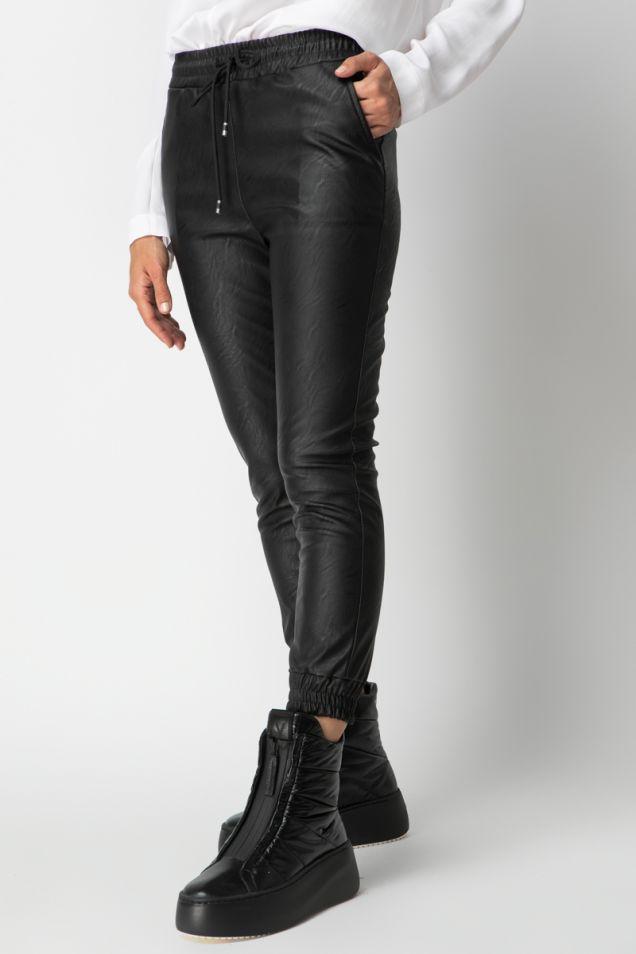 Vegan leather track pants
