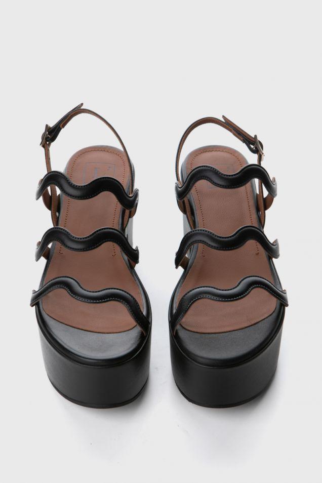 Black leather platform sandals