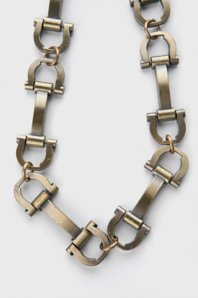 Necklace in bronze and silver metal