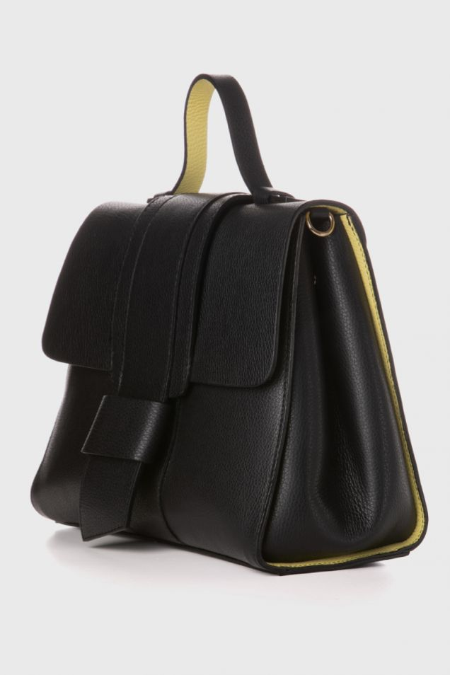 Black leather tote bag with light yellow details