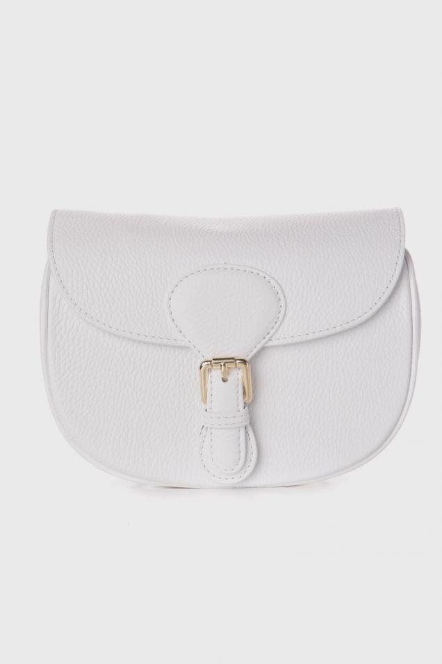 Min  leather shoulder bag in white