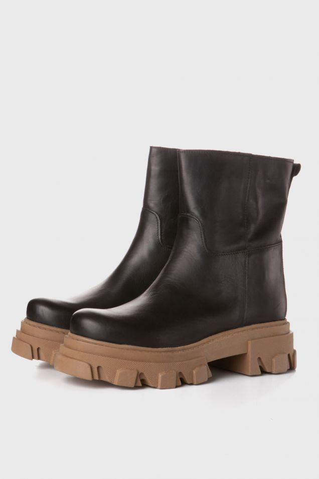 Black ankle boots with chunky sole