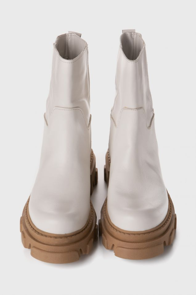 White ankle boots with chunky sole