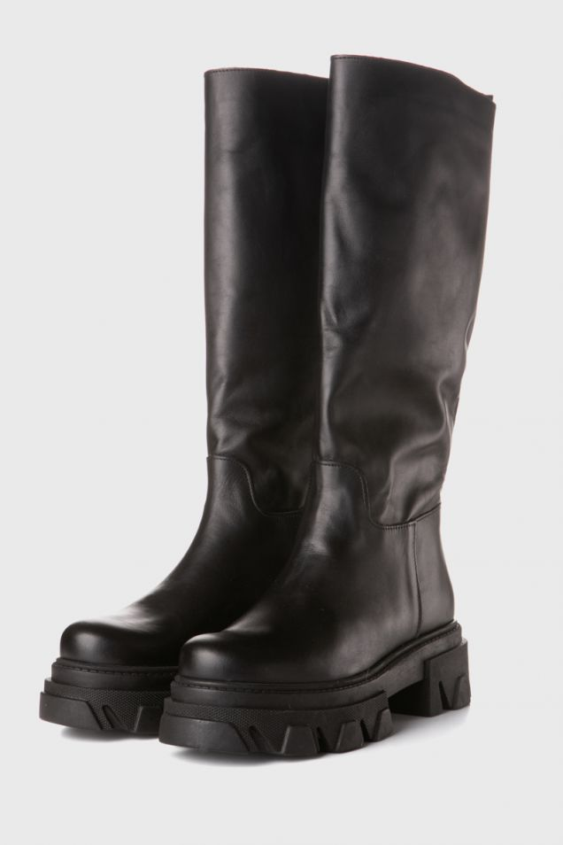 Black leather boots with chunky sole
