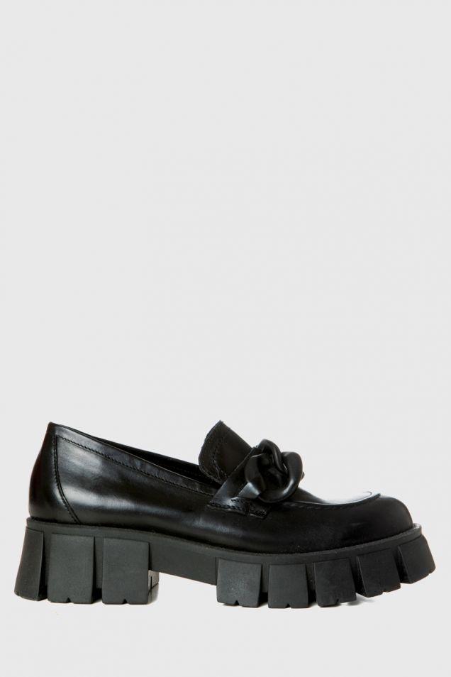 Black leather platform loafers