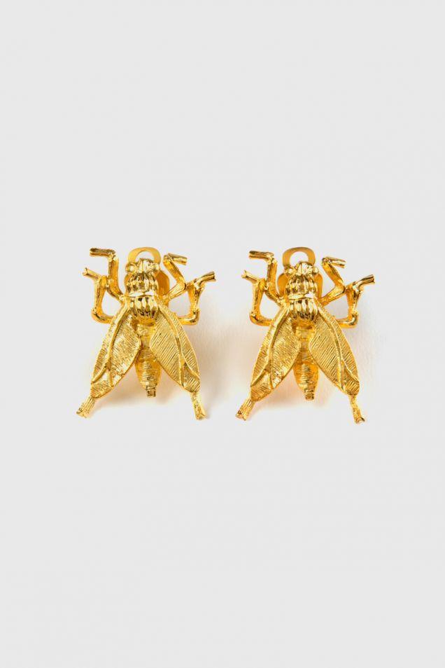 Wasp metal clip earrings