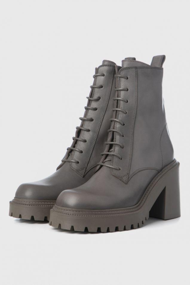 Combat boots in clay-grey calfskin