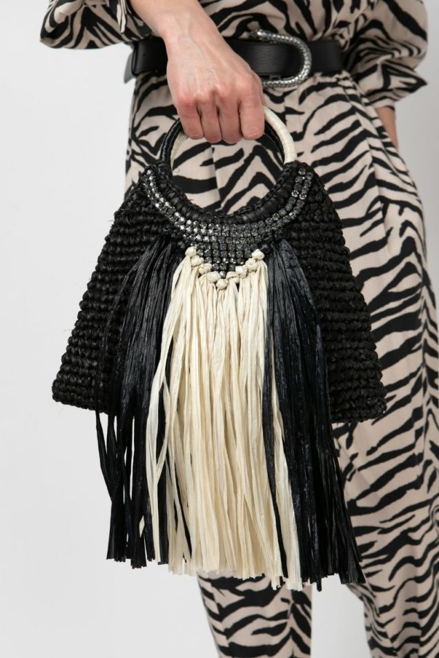 Raffia small bag embellished with strass