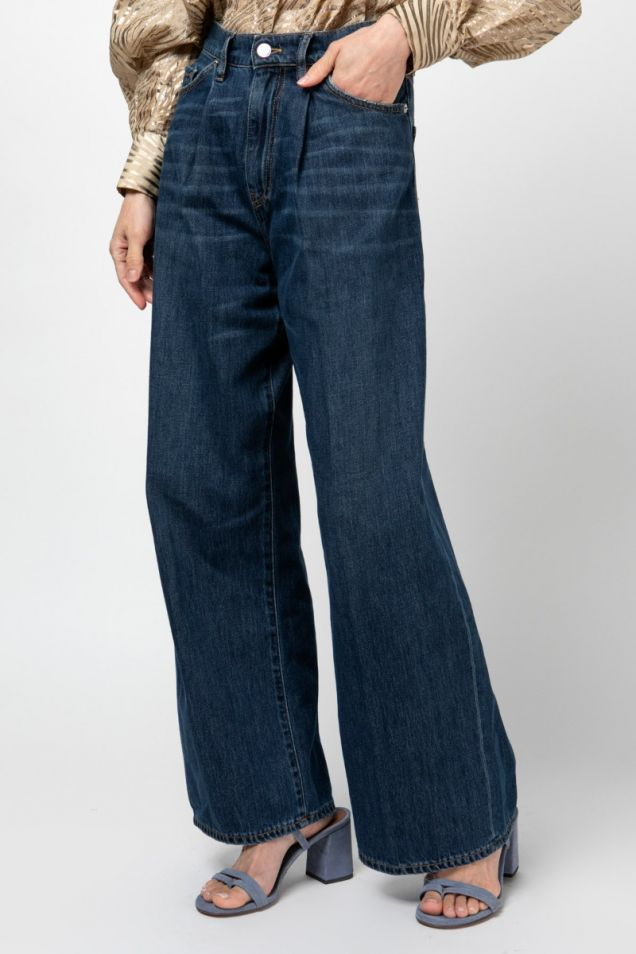 Pleated wide-leg  jeans pants