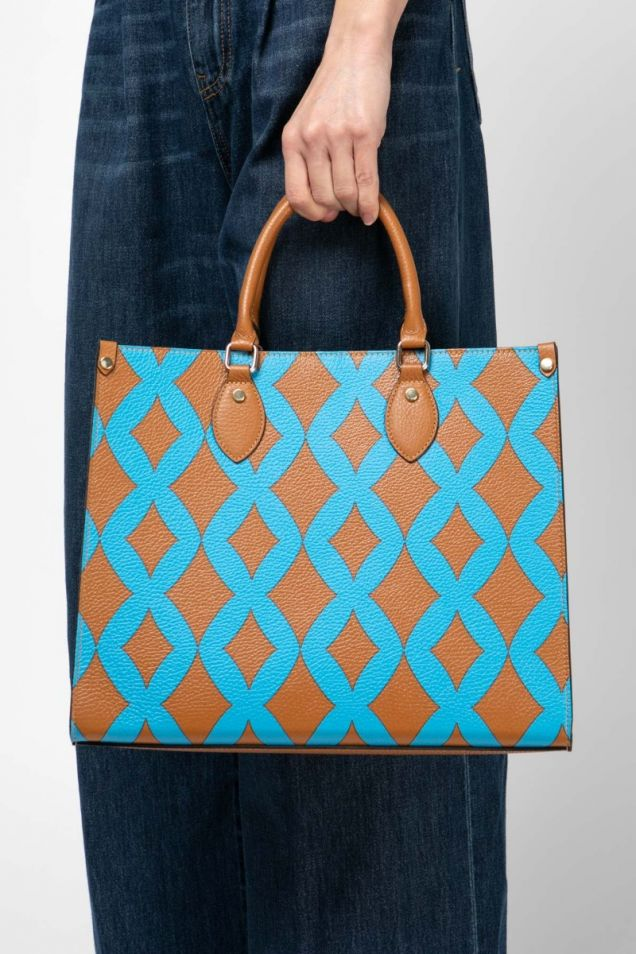 Leather printed tote
