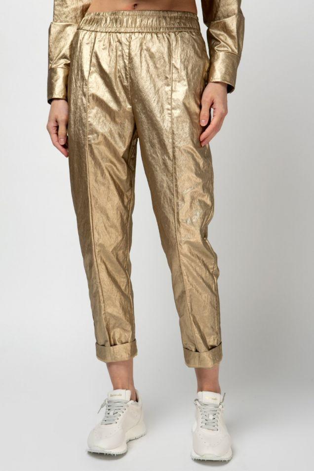 Metallic  straight -leg  pants