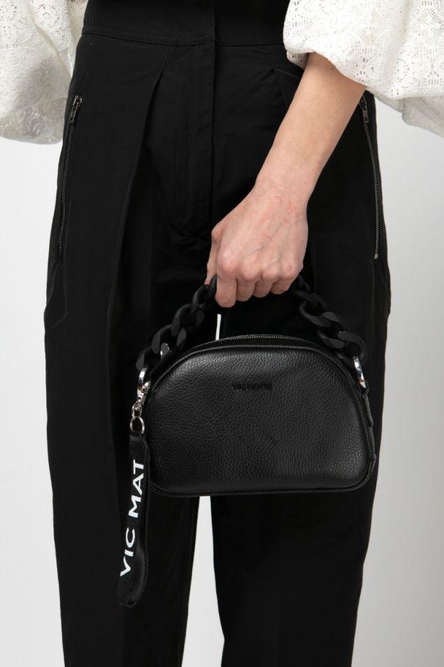 Mini black leather bag with black chain